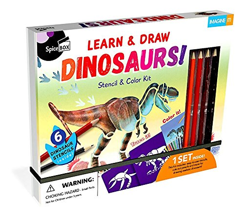 SpiceBox Learn & Draw Dinosaurs Stencil and Color Kit