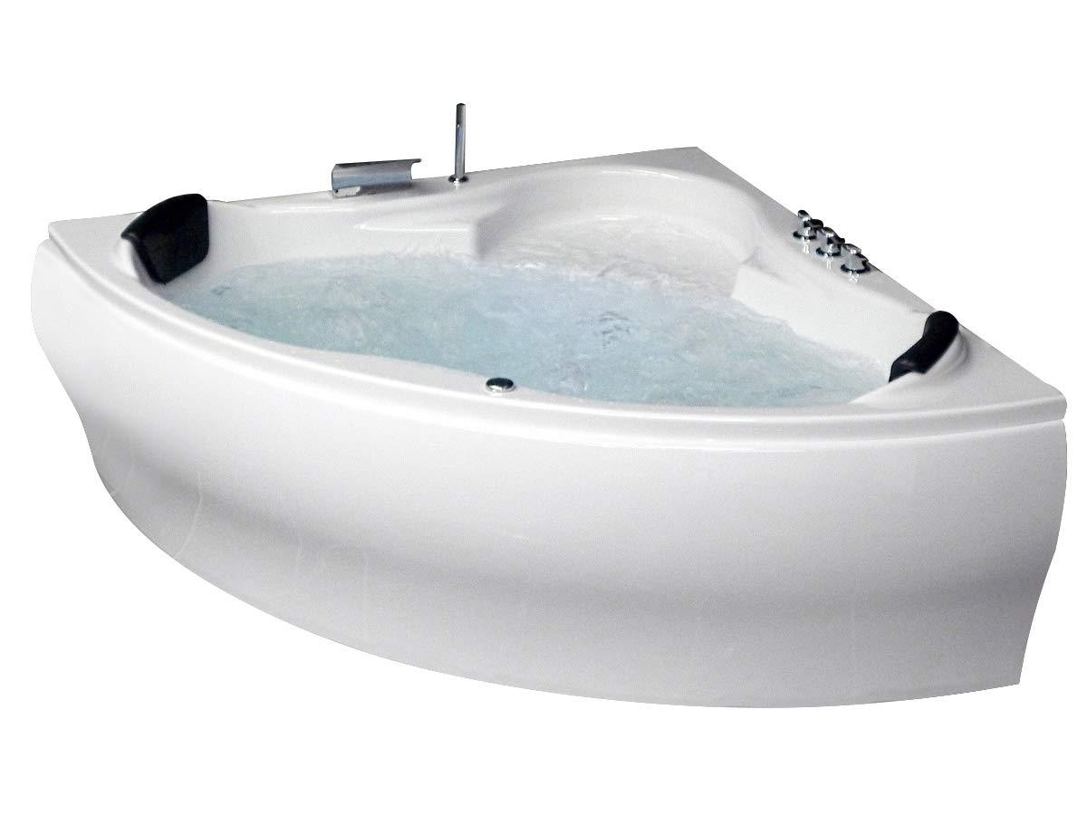 Whirlpool Vasca da bagno PARIGI Made In Germany con 8 ugelli per massaggio + LED SUBACQUEA ILLUMINAZIONE / LUCE + BALBOA + con struttura vasca da bagno ad angolo