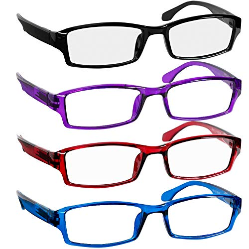 Reading Glasses Best 4 Pack Black Blue Red Purple for Men and Women Have a Stylish Look & Crystal Clear Vision When You Need It!_Comfort Spring Arms & Dura-Tight Screws_100% Guarantee + 2.00 from TruVision Readers