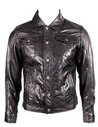 Mens Trucker Denim Western Slim Fit Black Leather Shirt Jeans Biker Jacket