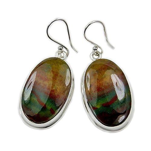 Sterling Silver Rare Bloodstone Dangle Earrings
