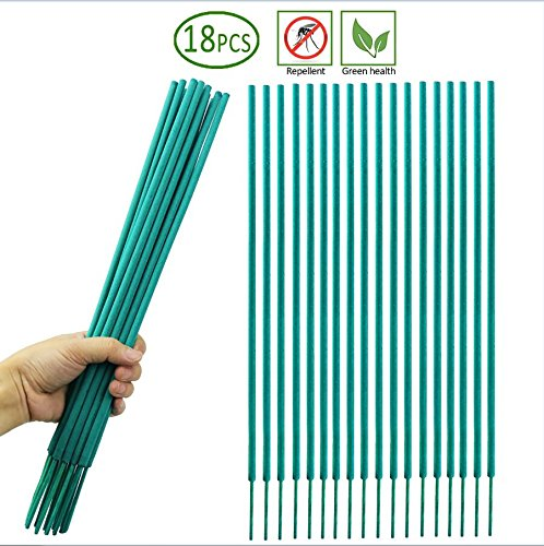 THCB Mosquito Sticks - Natural and DEET Free Insect Repellent Incense Stick - Bamboo infused with Citronella, Lemongrass and Rosemary 18-sticks per pack (Green Bamboo Canes)