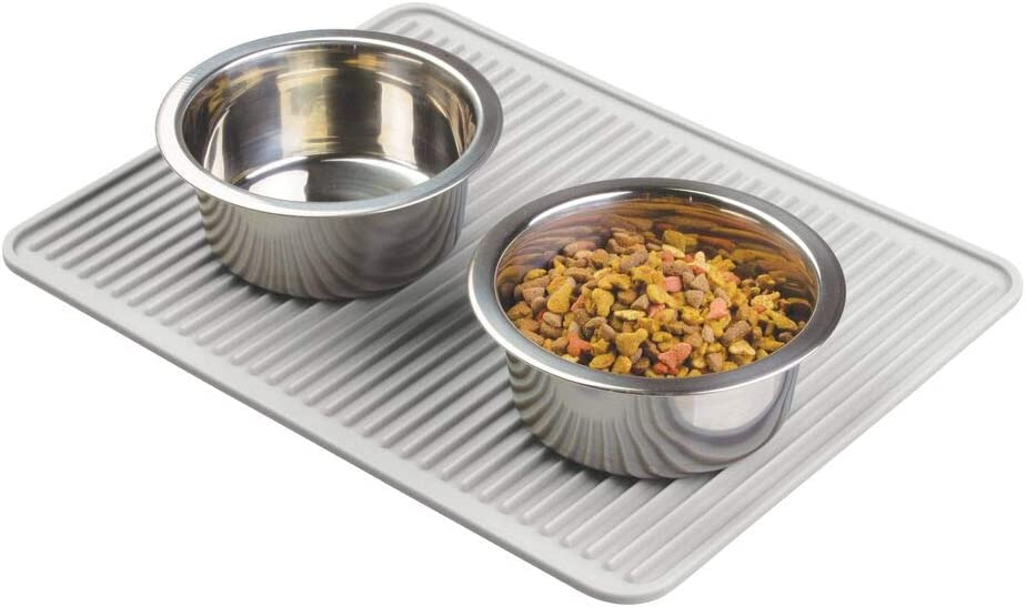 mDesign Premium Quality Pet Food and Water Bowl Feeding Mat for Dogs and Puppies - Waterproof Non-Slip Durable Silicone Placemat - Food Safe, Non-Toxic - Light Gray