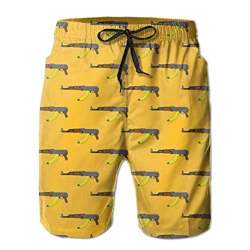 VVGHOPOI Mens AK-47 with Banana Quick-Dry Lightweight Fashion Board Shorts Swim Trunks White