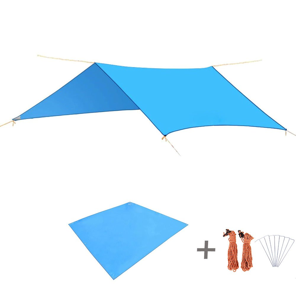 TRIWONDER Waterproof Rain Fly Hammock Camping Shelter Tent Tarp Footprint Sunshade Mat for Hiking Backpacking Beach Picnic (Blue+Accessories) by TRIWONDER