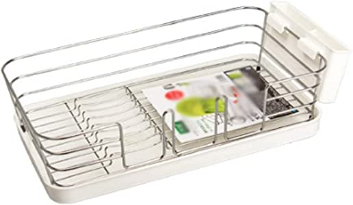 QYJpB Quality Steel Kitchen Sink Side Dish Drying Rack,Drain Rack Set(3-Piece) with Drainboard and Separate Box for Cutlery (Color : B)
