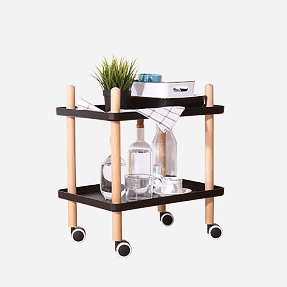 KSUNGB Convenience table Can move Small coffee table Move the table With a wheel table Telephone desk Wooden table, black