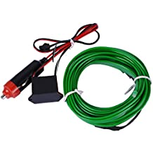 EL Wire, AutoEC 16 Feet 5M Sewing Edge Flexible Neon Light Glow EL Wire Rope Tape Cable Strip LED Neon Lights for Parties Decoration (Green)