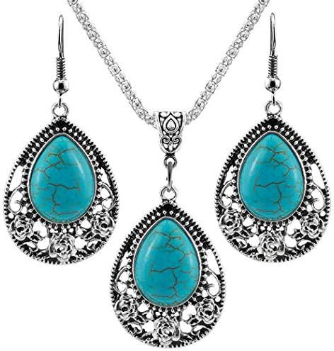 Nurbo Turquoise Rhinestone Earrings Necklace product image