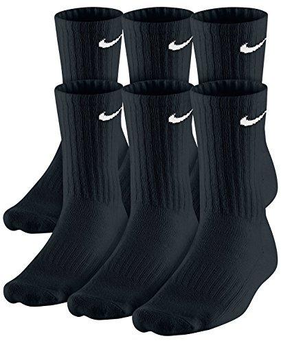NIKE Dri-Fit Classic Cushioned Crew Socks 6 PAIR Black with White Swoosh Logo) LARGE 8-12