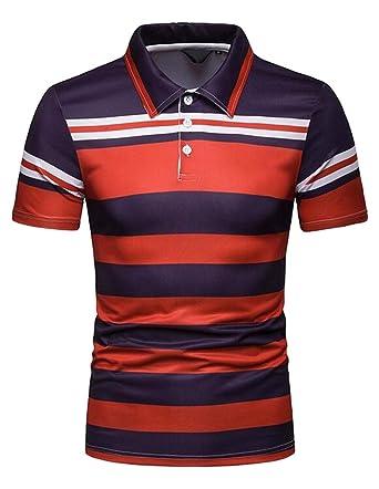 003cc1e5 Fensajomon Men Short Sleeve Plus Size Golf Polo Shirt Sports Slim Stripe T-Shirt  Tee at Amazon Men's Clothing store: