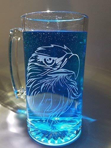 Bald Eagle Glass Mug with Etching of Bald Eagle head, customized