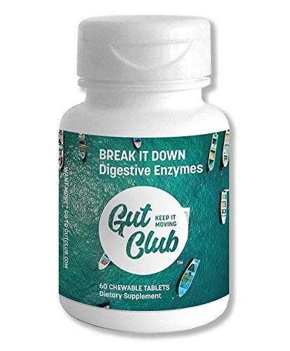Gut Club - Break It Down Digestive Enzymes, 60 Chewable Refreshing Mint Flavor Tablets, Travel-ready bottle, Sugar-free, Optimal Digestive Support for Men & Women, (60 count)