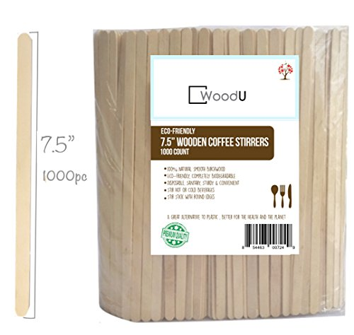 """Stirrers, Coffee Stir Sticks 7.5"""" (1000 Count) EcoFriendly Completely Biodegradable, Coffee Stirrers For Hot & Cold Beverages as Coffee & Tea Alternative to Plastic Stirrer ()"""