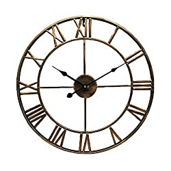 ufengke Vintage Bronze Iron Wall Clock with Roman Numerals - Nostalgic and Antique Open Back Metalic Frame Wall Charts Decor - 40cm in Diameter
