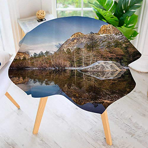 Philiphome Round Tablecloth- Yosemite Mirror Lake and Mountain Reflecti Water SunEvening Round Circular Solid Polyester Tablecloth 59