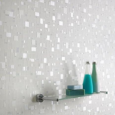 . Graham   Brown Contour Spa Pastel Geometric Tile Foiled Wallpaper   Blue White