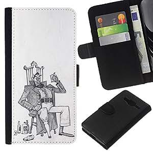 Be-Star la tarjeta de Crédito Slots PU Funda de cuero Monedero caso cubierta de piel Samsung Galaxy Core Prime ( Alcohol Man Drunk Art Drawing Pencil )