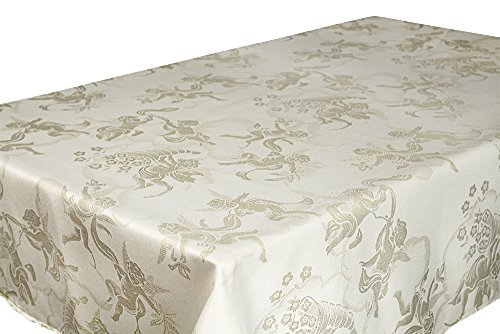 Lovein Tablecloth Christmas Decorative Beige&Gold Angel Pattern Polyester Jacquard Fabric Tablecloth for Kitchen Dinning Parties(60 x 84-Inch Table Cover (Angel Pattern)