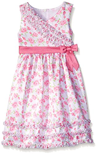 American Princess Little Girls' Toddler Crossover Bodice Shantung Dress, White Rose, 2T