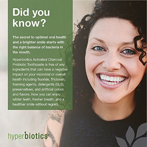Probiotic Charcoal Toothpaste: All Natural with Xylitol and Organic Coconut Oil - Fluoride Free - Spearmint (4oz) by Hyperbiotics (Image #3)'