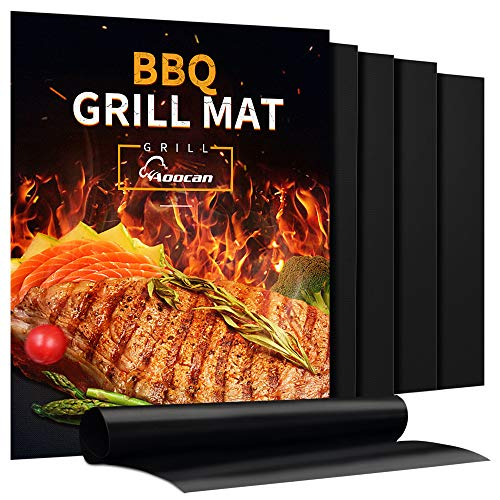 Aoocan Grill Mat - Set of 5 Heavy Duty BBQ Grill Mats - Non Stick, BBQ Grill & Baking Mats - Reusable, Easy to Clean Barbecue Grilling Accessories - Work on Gas Charcoal Electric - Extended Warranty