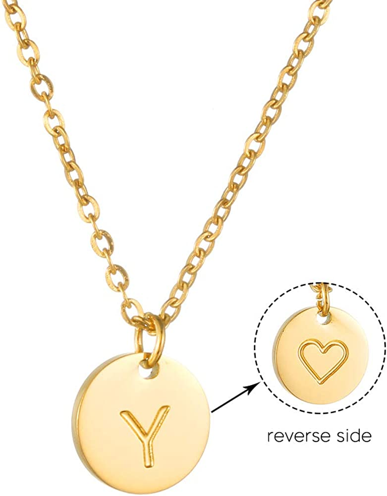 AFSTALR Damen Kette mit Buchstaben Runde Initiale Kette mit Herzen Gold Geburtstag Namenskette Geschenk f/ür M/ädchen Gold//Silber//Ros/égold