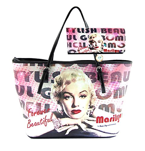 Marilyn Monroe Large Handbag Wallet Set, Forever Beautiful Tote, Plus Keychain ()