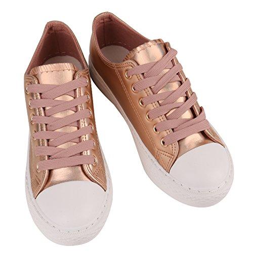 3eb894f12314 Stiefelparadies Glitzer Damen Sneakers Sneaker Low Metallic Schnürer Denim  Flats Turnschuhe Sportschuhe Flandell Rose Gold Weiss ...