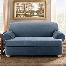 Sure Fit Stretch Stripe 2-Piece T Sofa Slipcover, Navy by Surefit