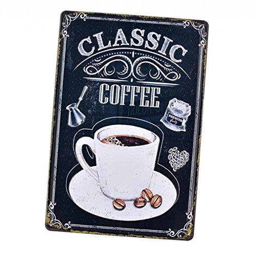Baoblaze Cartel de Chapa Metal Placa Ornamento Decorativo para Barra Bar Pub Cafetería - Café 04