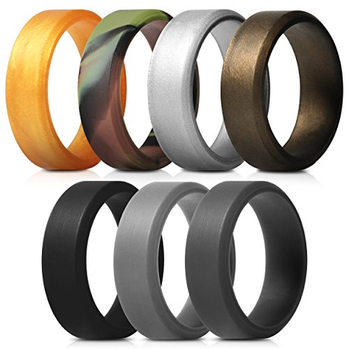 Saco Band Men's Silicone Rings Polished Aspect with Angled Design - 7 Pack Rubber Wedding (8 Design Band)
