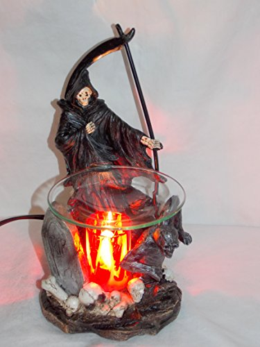 (New Grim Reaper In Skull Graveyard Fragrance Oil Burner Tart Warmer With Dimmer)