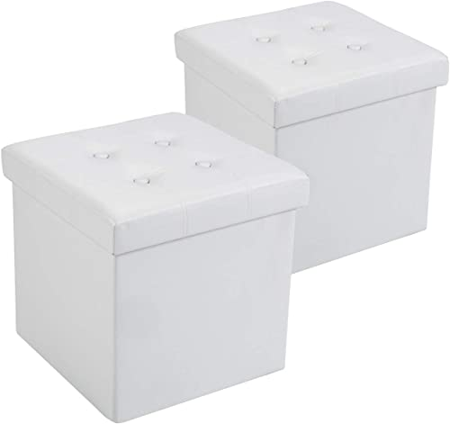 Fresh Home Elements 15″ Tufted PU Set of 2 Storage Ottoman