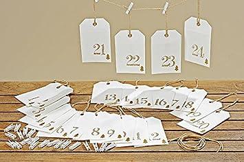 Adventskalender Papiertüten 15cm + Klammern Weiss 1 24 Weihnachtskalender  Hänger Basteln Dekorieren Geschenk Rot Weiß