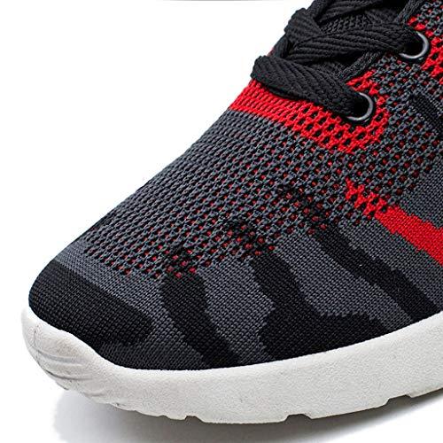 Mode Maille Courant Sport Occasionnels Occasionnelles Antidérapant Chaussures Sneakers Adeshop Rouge Extérieure Course Respirantes Confortable Hommes De wBnHq5xXq