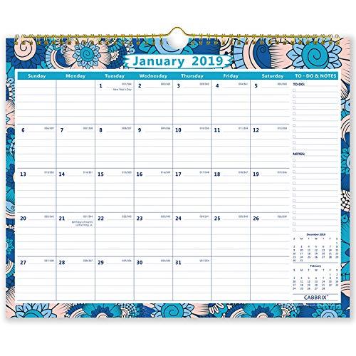 Wall Calendar 2019 with Wirebound, Monthly Hanging Calendar,15
