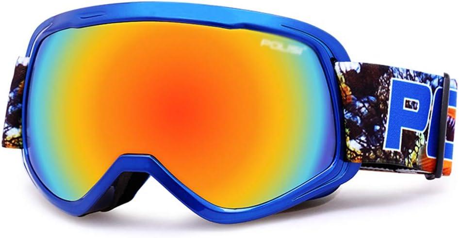 スキー用のゴーグル スキーゴーグル - PC、二重防曇、耐衝撃性、近視に持ち込むことができます、子供のユニセックスプロの屋外スキーと登山装置大球状HDゴーグル - 9色 (色 : 青 box colorful) 青 box colorful