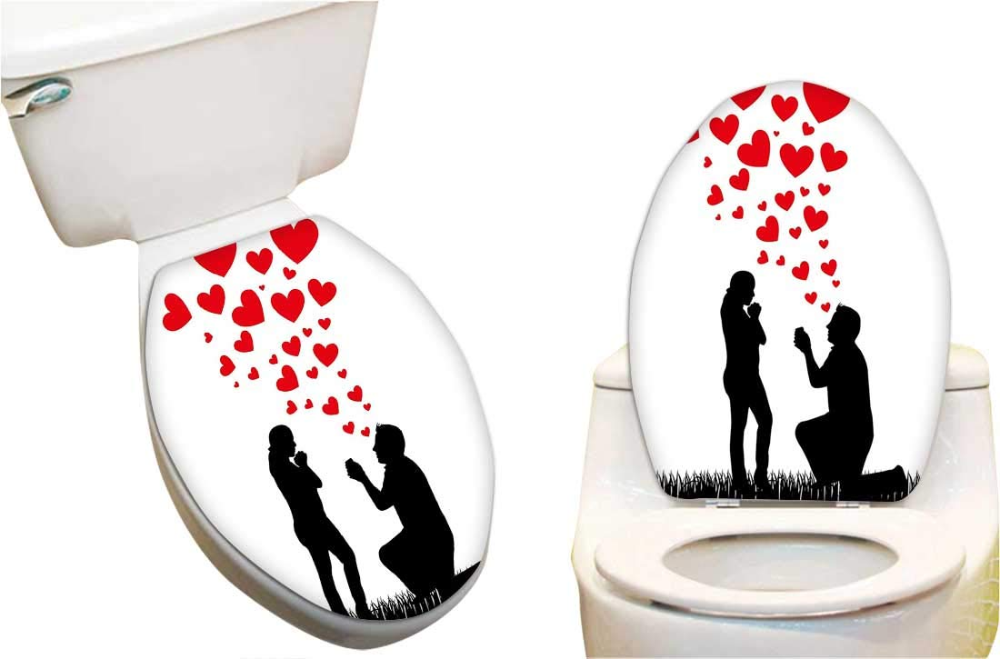 Fine Amazon Com Toilet Seat Sticker Wedding Proposal Of Romantic Creativecarmelina Interior Chair Design Creativecarmelinacom