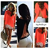 Leijing New Ladies Womens Sexy Summer Loose Casual Chiffon Backless T Shirt Blouse Tops multi-color one size