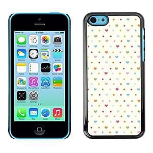 Caucho caso de Shell duro de la cubierta de accesorios de protección BY RAYDREAMMM - Apple iPhone 5C - Heart White Baby Blue Clean