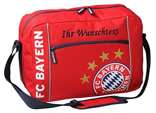 FC Bayern Schultertasche mit Ihrem Wunschtext in Ihrer Wunschfarbe (Glitzereffekt Schwarz)