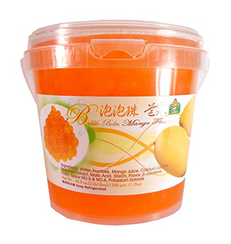 Bolle Popping Boba Pearls Bubble Tea, Ice Cream or Yogurt Topping 42.3 Oz. (Mango)