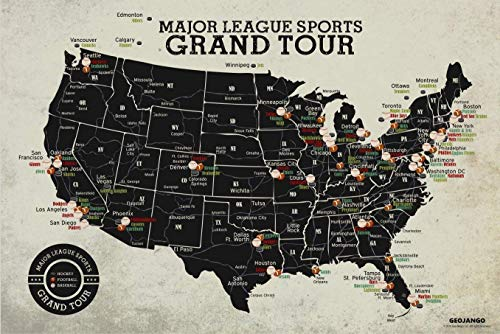 Major League Sports Map Grand Tour - All USA Baseball, Football, Hockey Stadiums - 24x16 inch Poster Unframed for $<!--$29.50-->