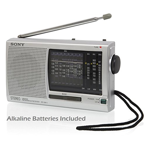 Sony Portable Compact 12 Channel World Band Shortwave Radio Receiver with Built-In Speaker & Kickstand, Headphone & DC In-Jack, Large Dial Tuner & LED Tuning Indicator, Telescoping Antenna and Wristband - Silver - Alkaline Batteries Included