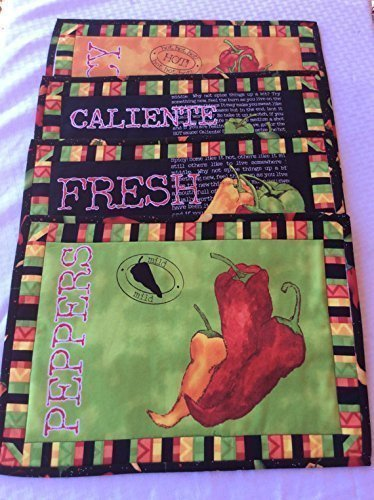 Peppers Quilted Placemats Kitchen Spicy Hot Caliente Peppers Set of Four in Green Yellow and Red