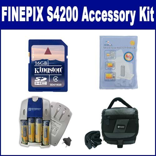 Fujifilm FinePix S4200 Digital Camera Accessory Kit includes: SDC-27 Case, ZELCKSG Care & Cleaning, SD4/16GB Memory Card