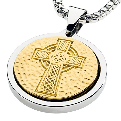 Unique Tungsten Medallion Necklace. Stainless Steel Celtic Cross Inlay with 18kt Gold Plating. 30 inch chain. PTMCRS30 - Gold Finish Medallion Necklace