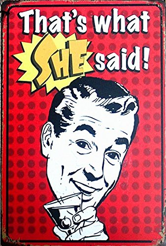 UNiQ Designs Vintage Beer Tin Signs That's What SHE Said Funny Metal Beer Signs - Bar Signs Vintage Beer Wall decor Alcohol Signs - Funny Signs for Bar Beer Decorations Bar Sign Decor 12x8