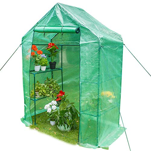 Sundale Outdoor Portable Gardening 2 Tier 4 Shelf Steeple Green House with PE Cover, Waterproof Walk in Plant Green House, 56.5″(L) x 29″(W) x 75.5″(H)